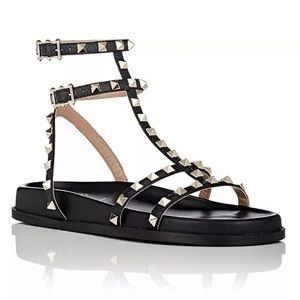 Valentino Bedrock Rockstud Leather T Strap Sandal